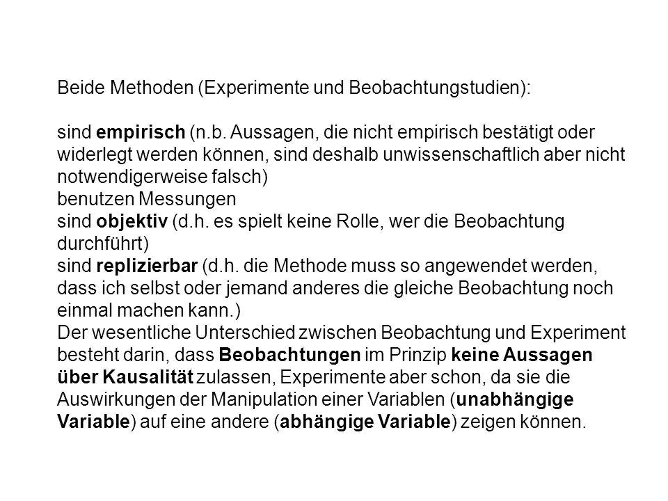 Beide Methoden (Experimente und Beobachtungstudien): sind empirisch (n.b. Aussagen, die nicht empirisch bestätigt oder widerlegt werden können, sind d