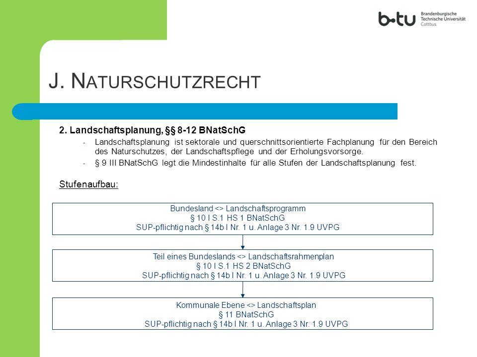 2. Landschaftsplanung, §§ 8-12 BNatSchG - Landschaftsplanung ist sektorale und querschnittsorientierte Fachplanung für den Bereich des Naturschutzes,