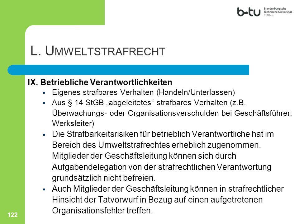 """122 L. U MWELTSTRAFRECHT IX. Betriebliche Verantwortlichkeiten  Eigenes strafbares Verhalten (Handeln/Unterlassen)  Aus § 14 StGB """"abgeleitetes"""" str"""