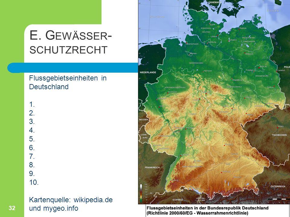 E. G EWÄSSER - SCHUTZRECHT 32 Flussgebietseinheiten in Deutschland 1. 2. 3. 4. 5. 6. 7. 8. 9. 10. Kartenquelle: wikipedia.de und mygeo.info