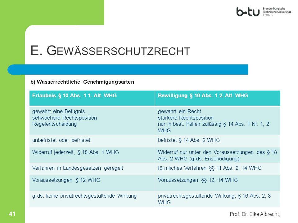 E. G EWÄSSERSCHUTZRECHT b) Wasserrechtliche Genehmigungsarten Prof. Dr. Eike Albrecht, 41 Erlaubnis § 10 Abs. 1 1. Alt. WHGBewilligung § 10 Abs. 1 2.