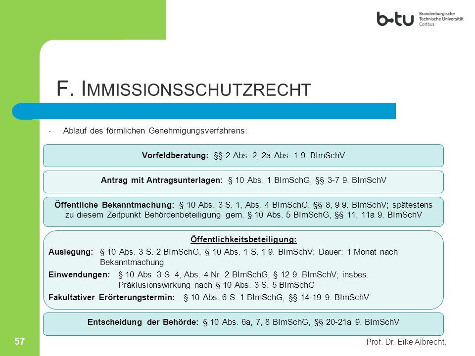 Prof. Dr. Eike Albrecht, 57 - Ablauf des förmlichen Genehmigungsverfahrens: Vorfeldberatung: §§ 2 Abs. 2, 2a Abs. 1 9. BImSchV Antrag mit Antragsunter