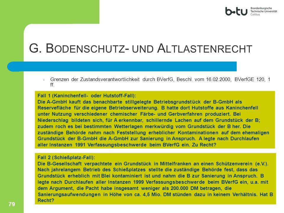- Grenzen der Zustandsverantwortlichkeit durch BVerfG, Beschl. vom 16.02.2000, BVerfGE 120, 1 ff. Fall 1 (Kaninchenfell- oder Hutstoff-Fall): Die A-Gm