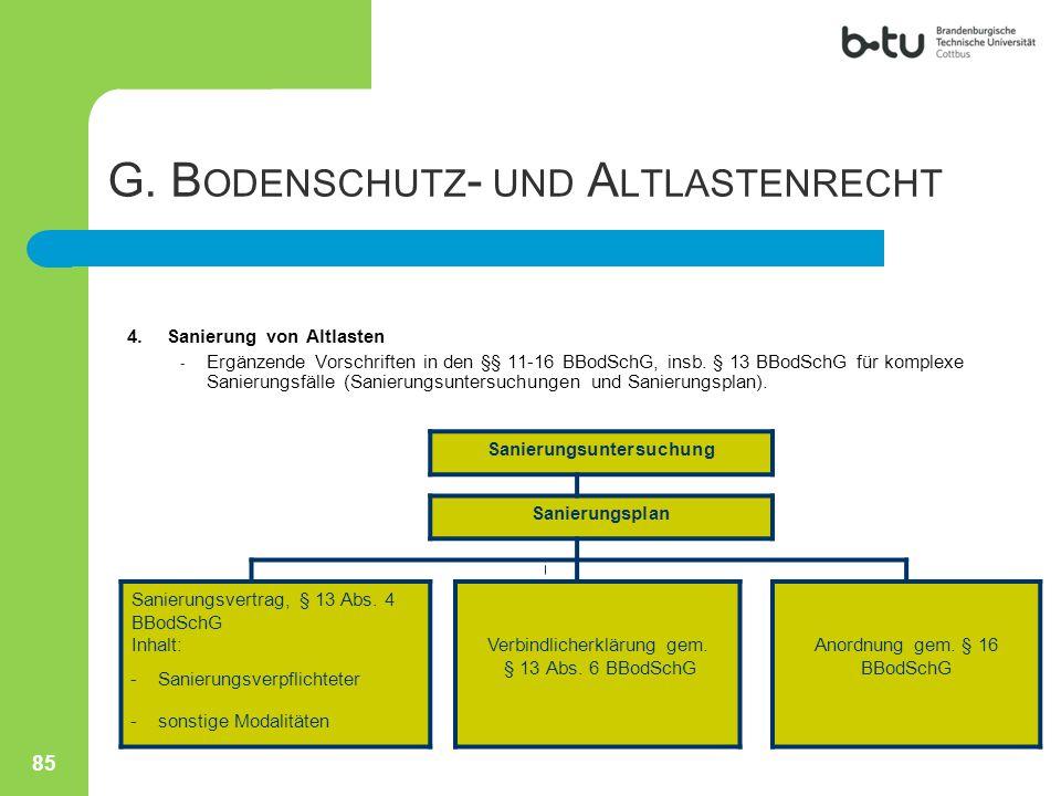 4.Sanierung von Altlasten - Ergänzende Vorschriften in den §§ 11-16 BBodSchG, insb. § 13 BBodSchG für komplexe Sanierungsfälle (Sanierungsuntersuchung