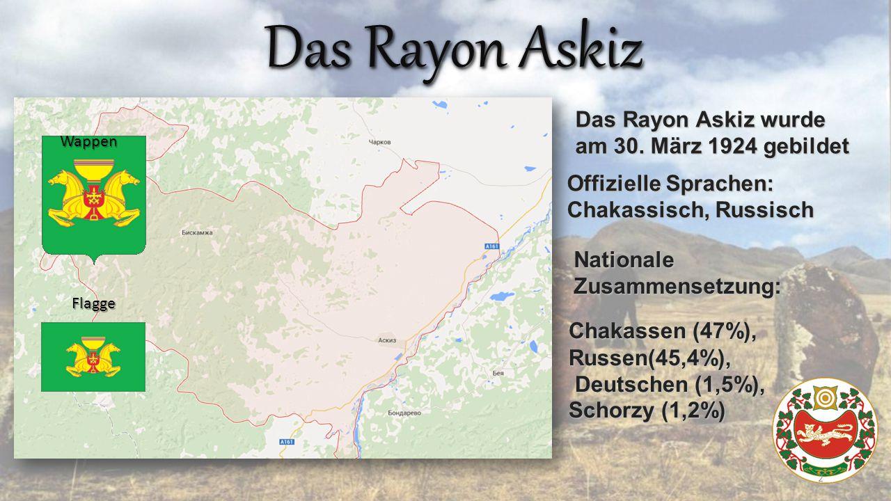 Das Rayon Askiz Wappen Flagge Das Rayon Askiz wurde am 30.
