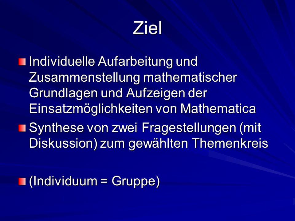 Ziel Individuelle Aufarbeitung und Zusammenstellung mathematischer Grundlagen und Aufzeigen der Einsatzmöglichkeiten von Mathematica Synthese von zwei Fragestellungen (mit Diskussion) zum gewählten Themenkreis (Individuum = Gruppe)