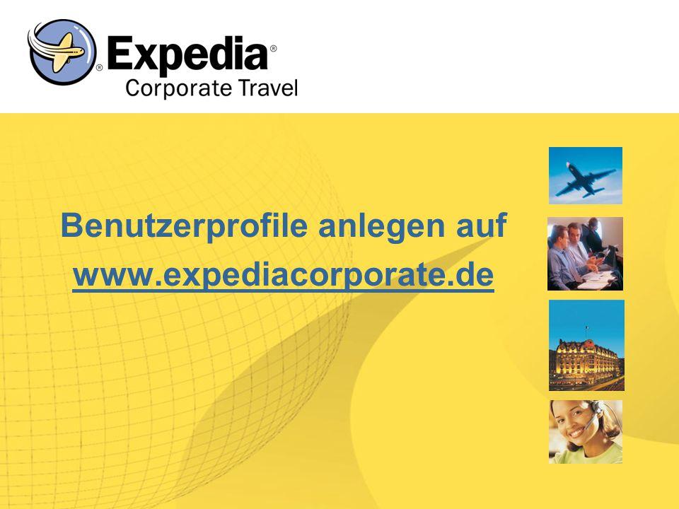 Benutzerprofile anlegen auf www.expediacorporate.de