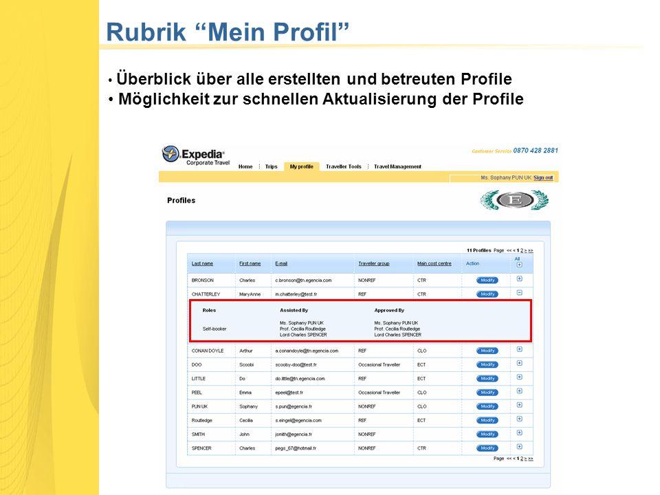 Rubrik Mein Profil Überblick über alle erstellten und betreuten Profile Möglichkeit zur schnellen Aktualisierung der Profile