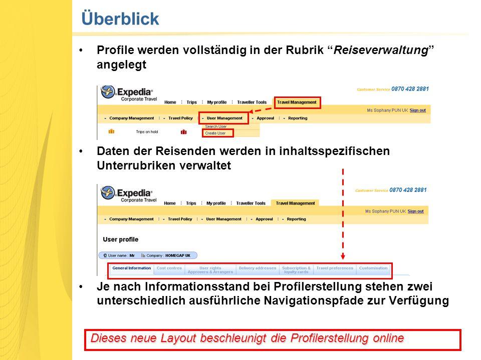 """Überblick Profile werden vollständig in der Rubrik """"Reiseverwaltung"""" angelegt Daten der Reisenden werden in inhaltsspezifischen Unterrubriken verwalte"""