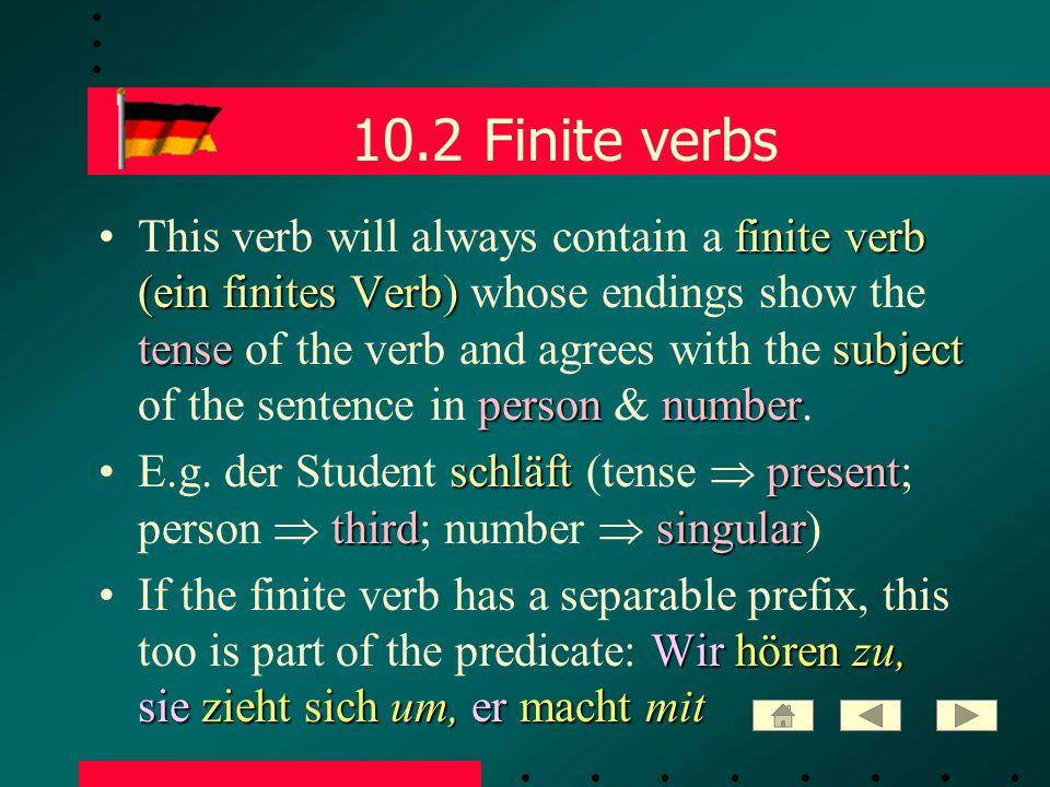 10.3 Non-finite verbs non-finite verbSometimes the predicate also contains a non-finite verb.