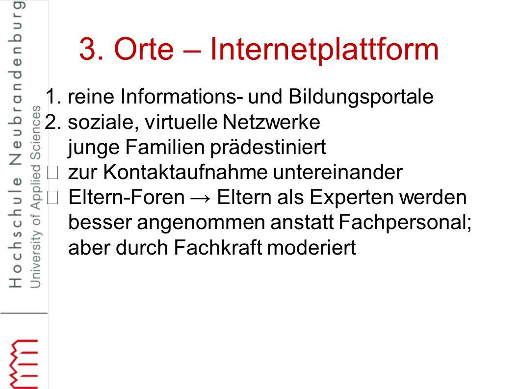 3. Orte – Internetplattform 1. reine Informations- und Bildungsportale 2. soziale, virtuelle Netzwerke junge Familien prädestiniert zur Kontaktaufnahm