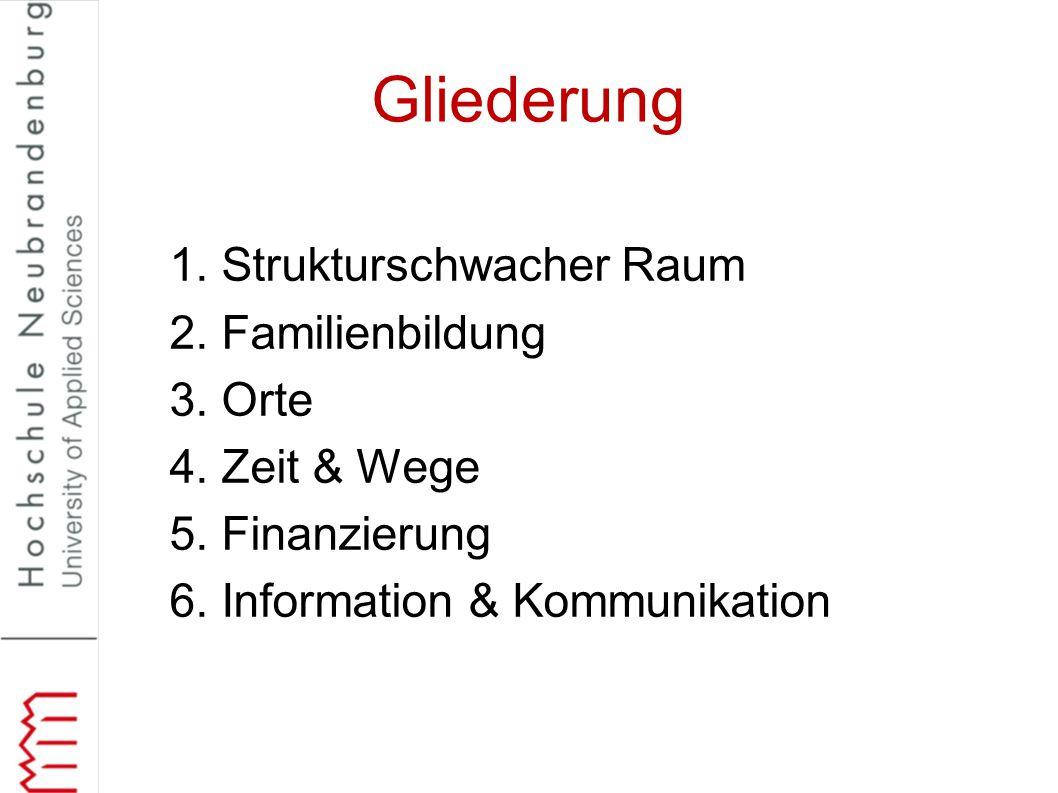 Gliederung 1. Strukturschwacher Raum 2. Familienbildung 3. Orte 4. Zeit & Wege 5. Finanzierung 6. Information & Kommunikation