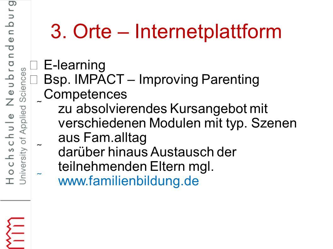 3. Orte – Internetplattform E-learning Bsp. IMPACT – Improving Parenting Competences zu absolvierendes Kursangebot mit verschiedenen Modulen mit typ.