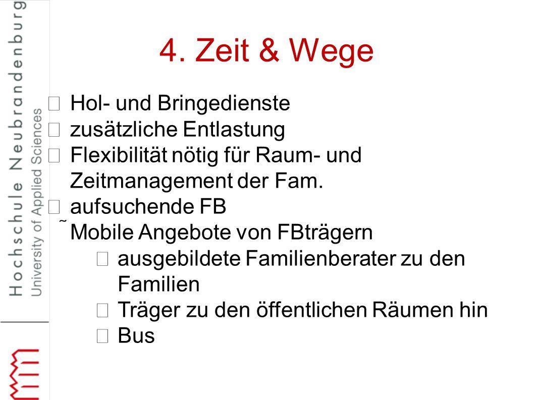 4. Zeit & Wege Hol- und Bringedienste zusätzliche Entlastung Flexibilität nötig für Raum- und Zeitmanagement der Fam. aufsuchende FB Mobile Angebote