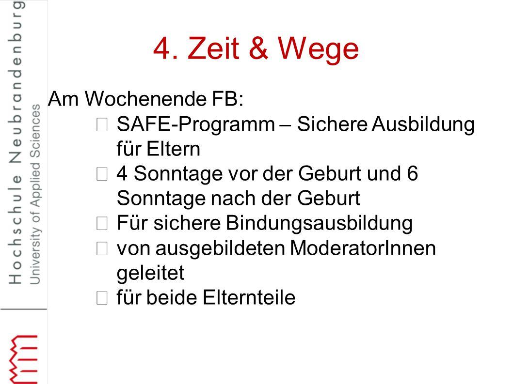 4. Zeit & Wege Am Wochenende FB: SAFE-Programm – Sichere Ausbildung für Eltern 4 Sonntage vor der Geburt und 6 Sonntage nach der Geburt Für sichere Bi