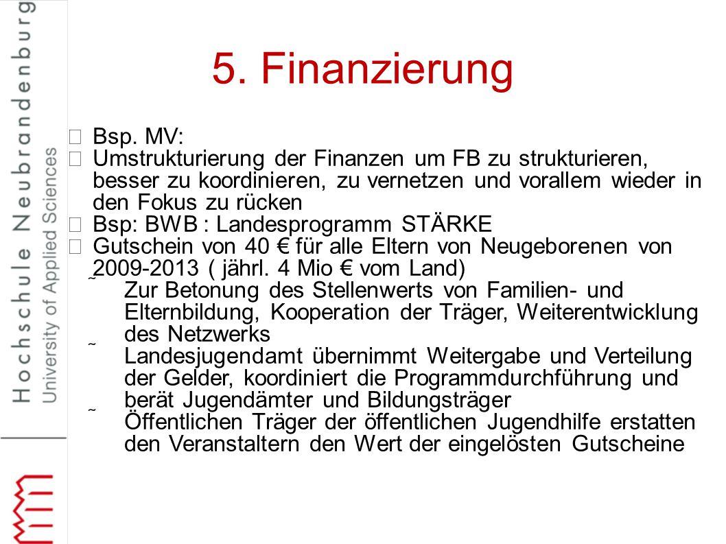 5. Finanzierung Bsp. MV: Umstrukturierung der Finanzen um FB zu strukturieren, besser zu koordinieren, zu vernetzen und vorallem wieder in den Fokus z