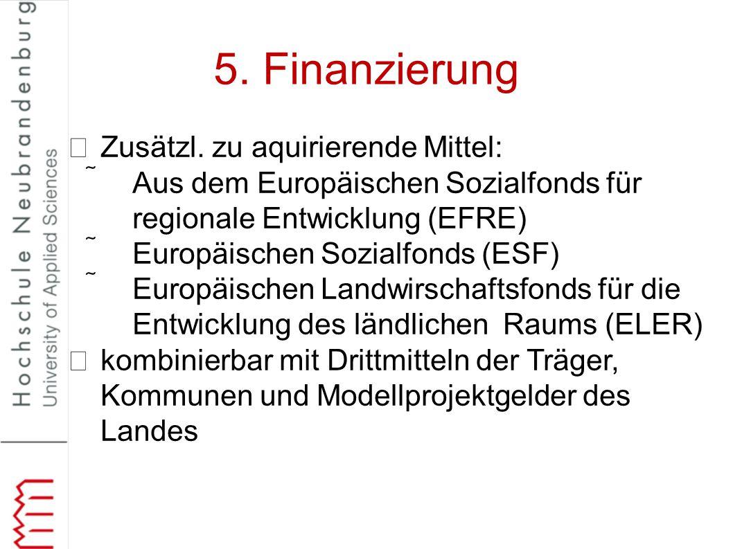 5. Finanzierung Zusätzl. zu aquirierende Mittel: Aus dem Europäischen Sozialfonds für regionale Entwicklung (EFRE) Europäischen Sozialfonds (ESF) E