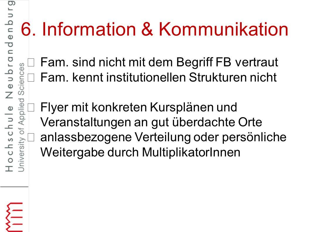 6. Information & Kommunikation Fam. sind nicht mit dem Begriff FB vertraut Fam. kennt institutionellen Strukturen nicht Flyer mit konkreten Kursplänen