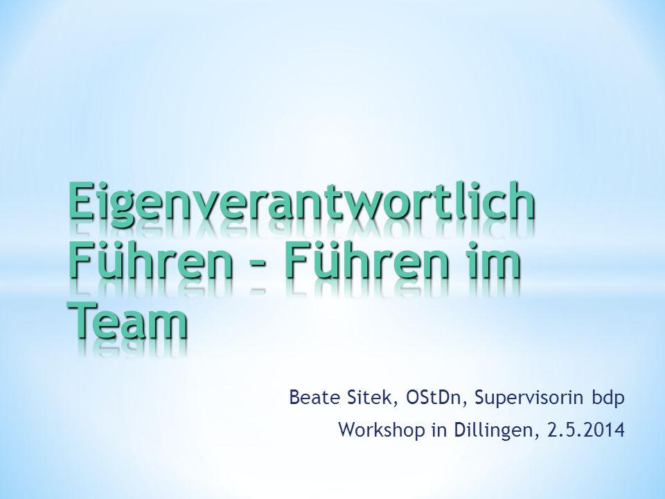 Beate Sitek, OStDn, Supervisorin bdp Workshop in Dillingen, 2.5.2014