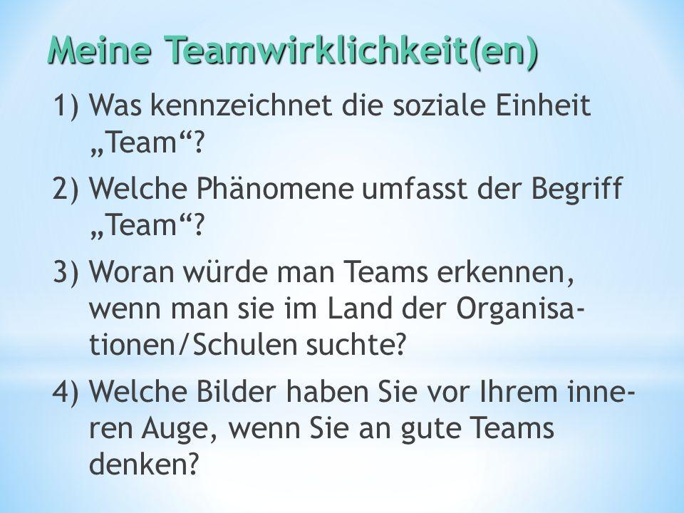 """MeineTeamwirklichkeit(en) Meine Teamwirklichkeit(en) 1) Was kennzeichnet die soziale Einheit """"Team ."""