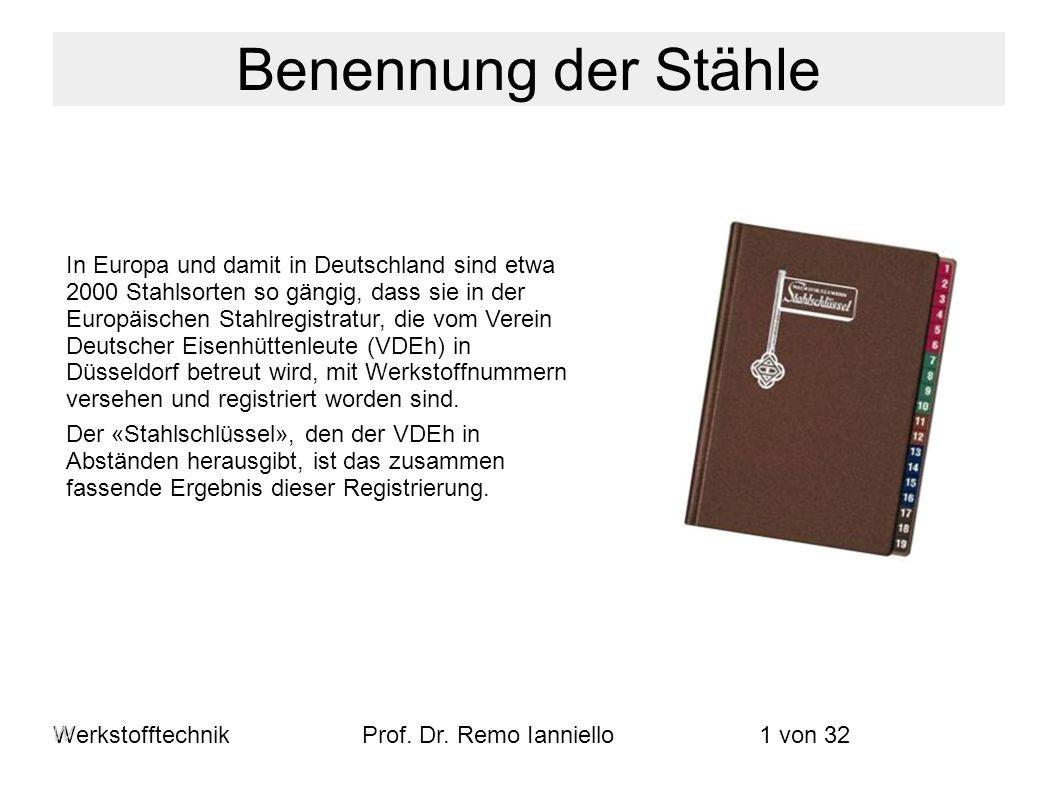 WerkstofftechnikProf. Dr. Remo Ianniello1 von 32 In Europa und damit in Deutschland sind etwa 2000 Stahlsorten so gängig, dass sie in der Europäischen