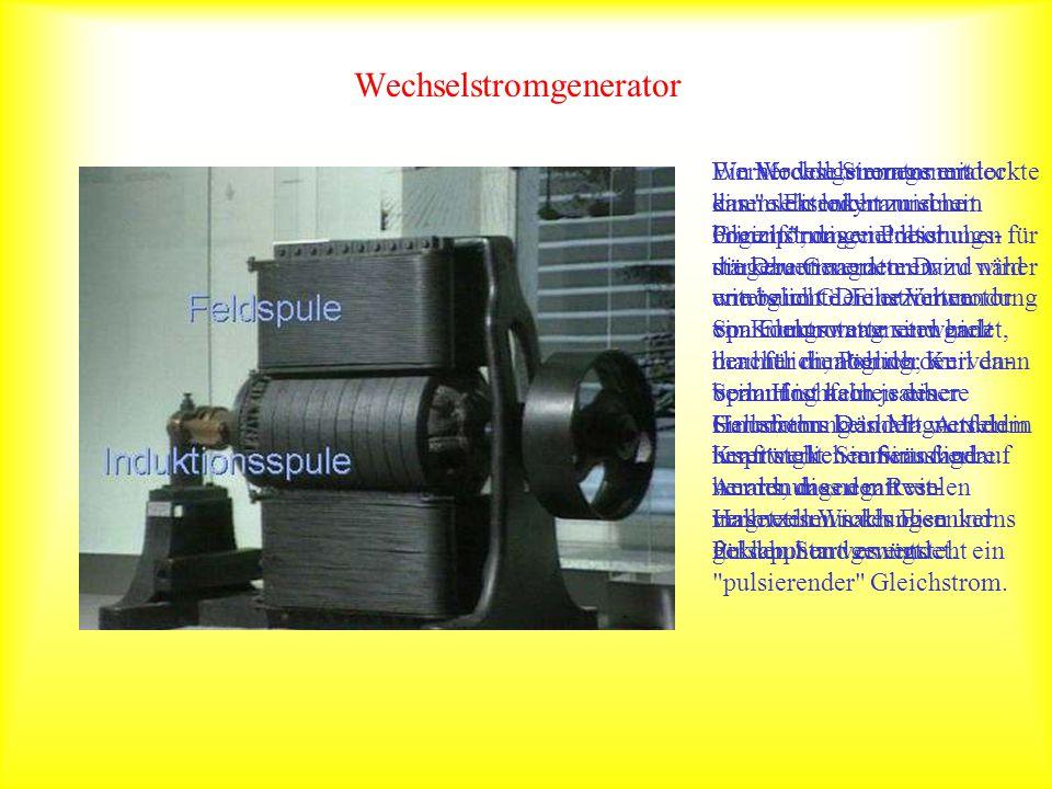 Wechselstromgenerator Ein Modellgenerator mit einem Eisenkern und mit bogenförmigen Polschuhen für die Dauermagneten wird näher untersucht. Die erziel