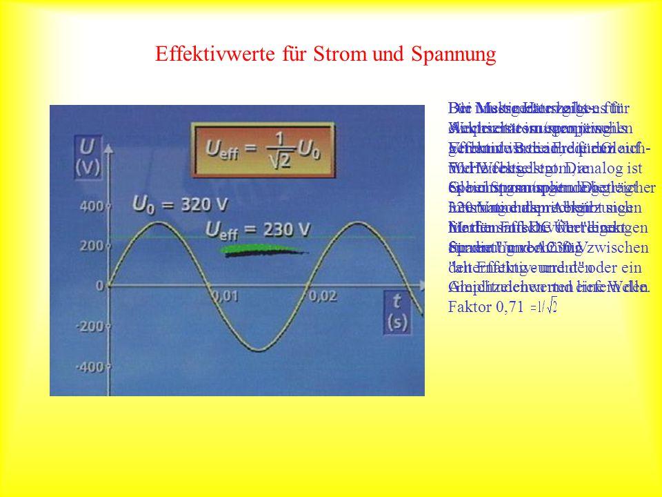 Effektivwerte für Strom und Spannung Bei Multimetern gibt es für Amperemessungen jeweils getrennte Bereiche für Gleich- und Wechselstrom, analog ist e