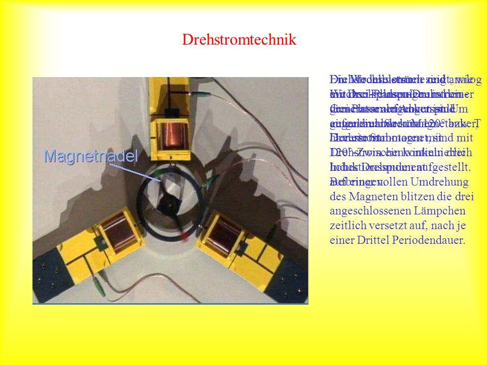 Drehstromtechnik Ein Modellversuch zeigt, wie ein Drei-Phasen-Drehstrom- Generator aufgebaut ist. Um einen drehbaren Magnetanker, hier ein Stabmagnet,