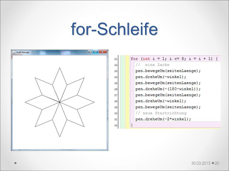 for-Schleife 30.03.201520