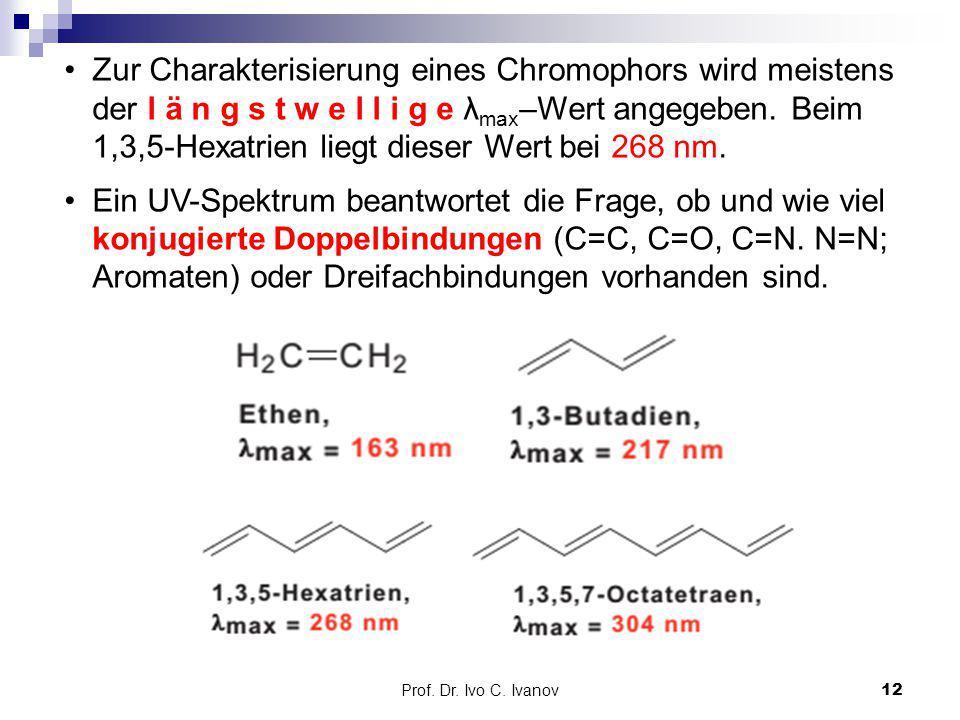 Prof. Dr. Ivo C. Ivanov12 Zur Charakterisierung eines Chromophors wird meistens der l ä n g s t w e l l i g e λ max –Wert angegeben. Beim 1,3,5-Hexatr