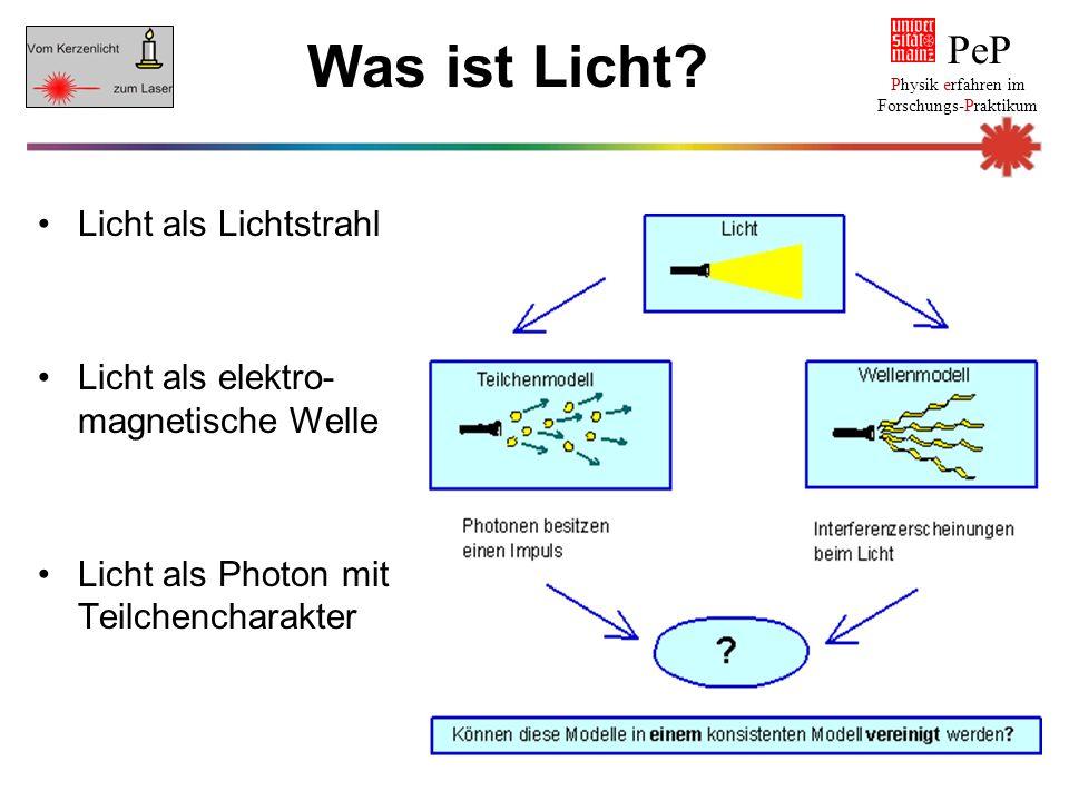 Was ist Licht? Licht als Lichtstrahl Licht als elektro- magnetische Welle Licht als Photon mit Teilchencharakter PeP Physik erfahren im Forschungs-Pra