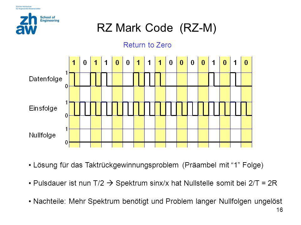 16 RZ Mark Code (RZ-M) Lösung für das Taktrückgewinnungsproblem (Präambel mit 1 Folge) Pulsdauer ist nun T/2  Spektrum sinx/x hat Nullstelle somit bei 2/T = 2R Nachteile: Mehr Spektrum benötigt und Problem langer Nullfolgen ungelöst Return to Zero