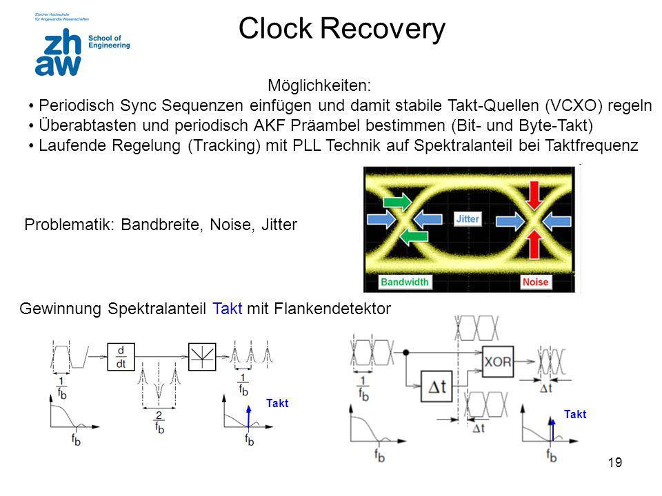 Takt 19 Clock Recovery Möglichkeiten: Periodisch Sync Sequenzen einfügen und damit stabile Takt-Quellen (VCXO) regeln Überabtasten und periodisch AKF Präambel bestimmen (Bit- und Byte-Takt) Laufende Regelung (Tracking) mit PLL Technik auf Spektralanteil bei Taktfrequenz Problematik: Bandbreite, Noise, Jitter Gewinnung Spektralanteil Takt mit Flankendetektor Takt