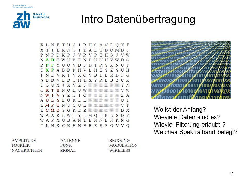 2 Intro Datenübertragung Wo ist der Anfang? Wieviele Daten sind es? Wieviel Filterung erlaubt ? Welches Spektralband belegt?