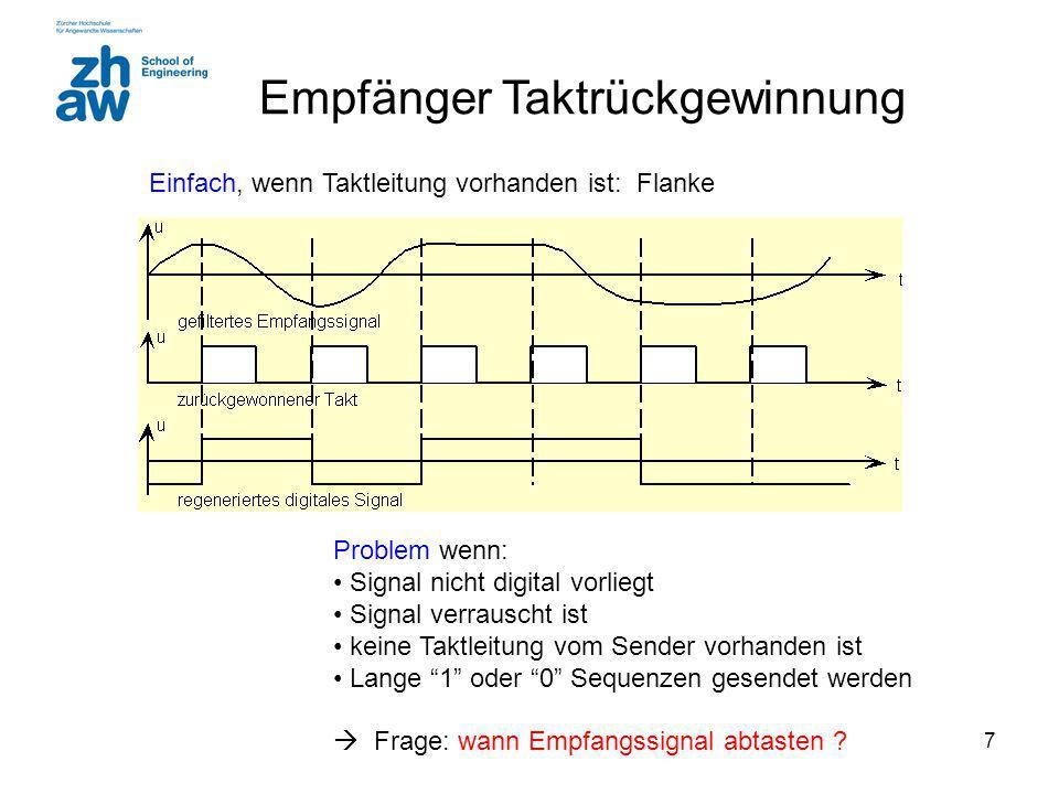 7 Empfänger Taktrückgewinnung Problem wenn: Signal nicht digital vorliegt Signal verrauscht ist keine Taktleitung vom Sender vorhanden ist Lange 1 oder 0 Sequenzen gesendet werden  Frage: wann Empfangssignal abtasten .