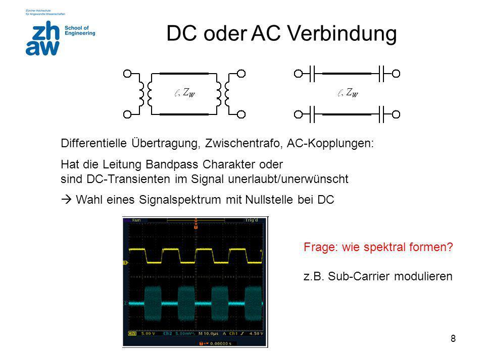 8 DC oder AC Verbindung Differentielle Übertragung, Zwischentrafo, AC-Kopplungen: Hat die Leitung Bandpass Charakter oder sind DC-Transienten im Signal unerlaubt/unerwünscht  Wahl eines Signalspektrum mit Nullstelle bei DC Frage: wie spektral formen.
