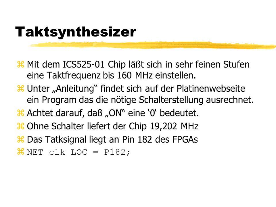 Taktsynthesizer zMit dem ICS525-01 Chip läßt sich in sehr feinen Stufen eine Taktfrequenz bis 160 MHz einstellen.