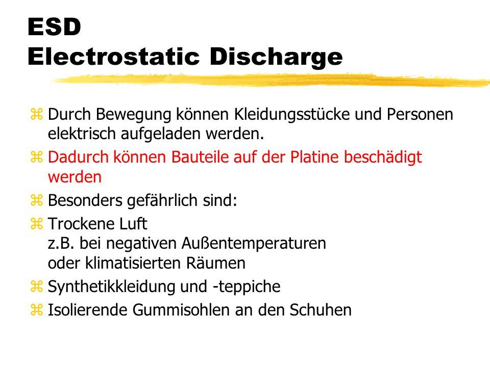 ESD Electrostatic Discharge zDurch Bewegung können Kleidungsstücke und Personen elektrisch aufgeladen werden.