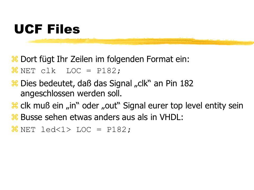 """UCF Files zDort fügt Ihr Zeilen im folgenden Format ein: zNET clk LOC = P182; zDies bedeutet, daß das Signal """"clk an Pin 182 angeschlossen werden soll."""