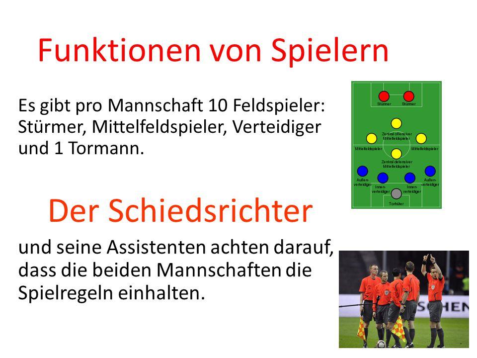 Funktionen von Spielern Es gibt pro Mannschaft 10 Feldspieler: Stürmer, Mittelfeldspieler, Verteidiger und 1 Tormann.