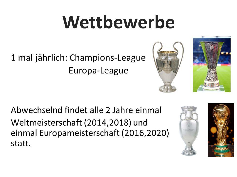 Wettbewerbe 1 mal jährlich: Champions-League Europa-League Abwechselnd findet alle 2 Jahre einmal Weltmeisterschaft (2014,2018) und einmal Europameisterschaft (2016,2020) statt.