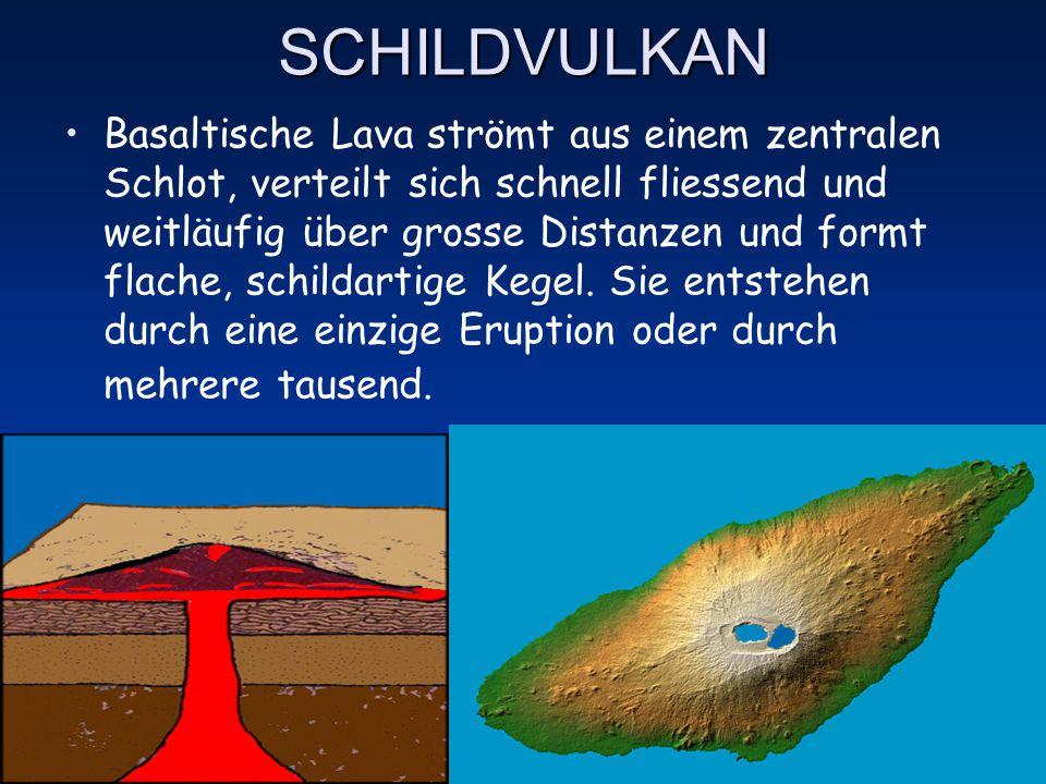 STRATOVULKAN (Komposit- oder Schichtvulkan) Mehrere Eruptionen hintereinander lagern abwechselnd Schichten aus Lava und Asche ab und bauen hohe, steil