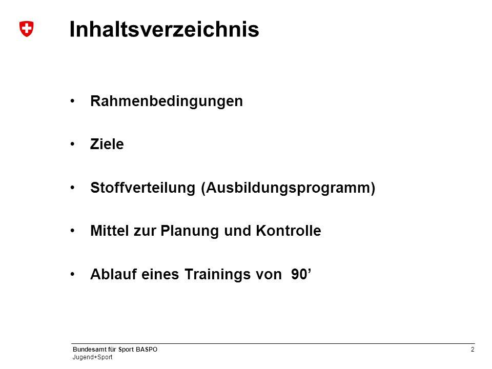 2 Bundesamt für Sport BASPO Jugend+Sport Inhaltsverzeichnis Rahmenbedingungen Ziele Stoffverteilung (Ausbildungsprogramm) Mittel zur Planung und Kontr