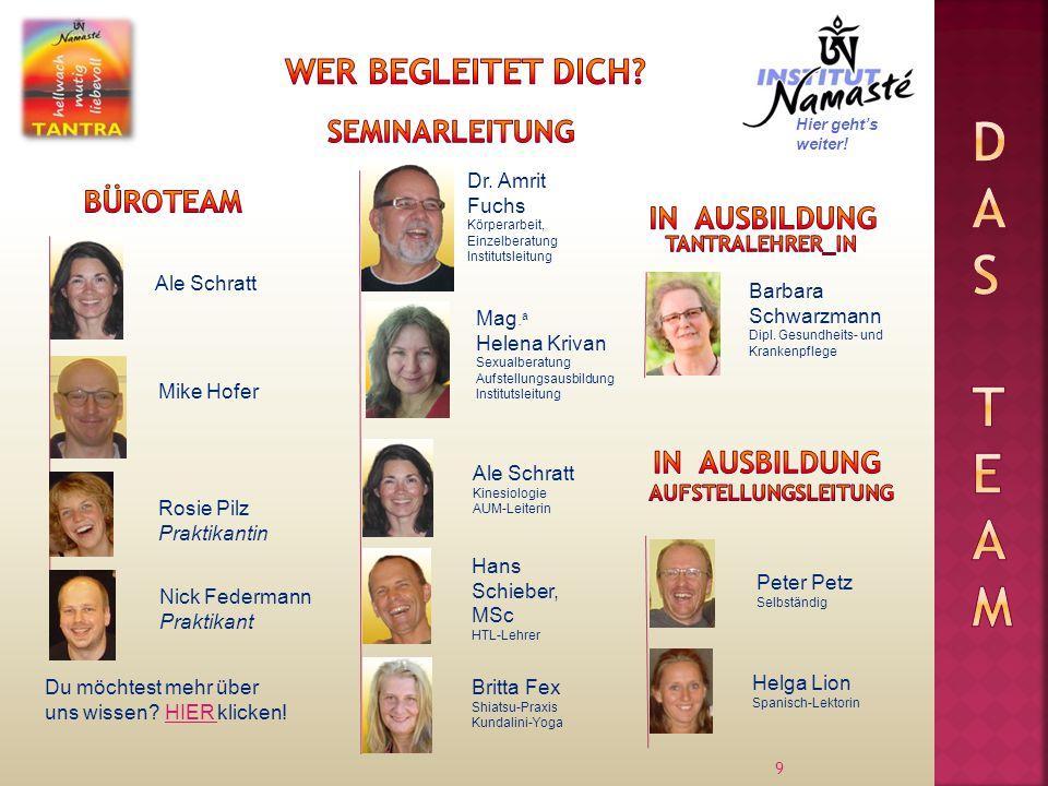 9 Ale Schratt Dr. Amrit Fuchs Körperarbeit, Einzelberatung Institutsleitung Mike Hofer Mag.