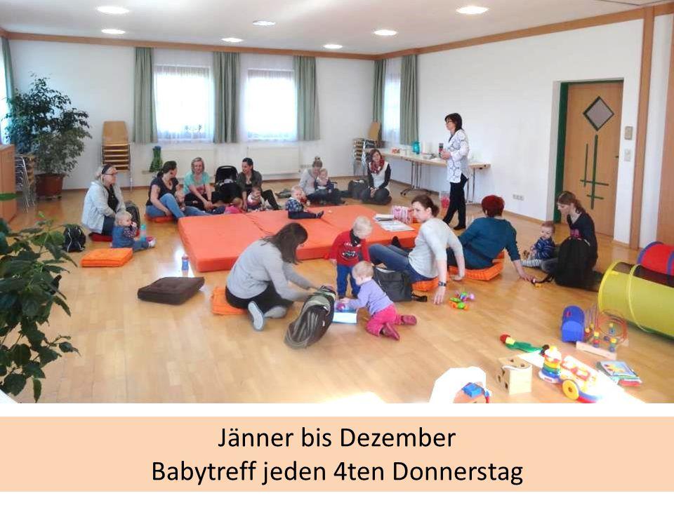 Jänner bis Dezember Babytreff jeden 4ten Donnerstag