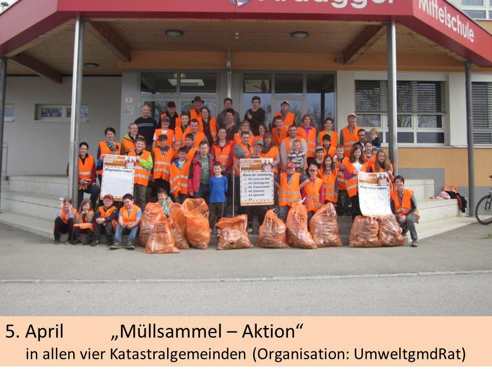 """5. April """"Müllsammel – Aktion in allen vier Katastralgemeinden (Organisation: UmweltgmdRat)"""