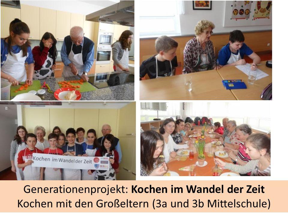 Generationenprojekt: Kochen im Wandel der Zeit Kochen mit den Großeltern (3a und 3b Mittelschule)