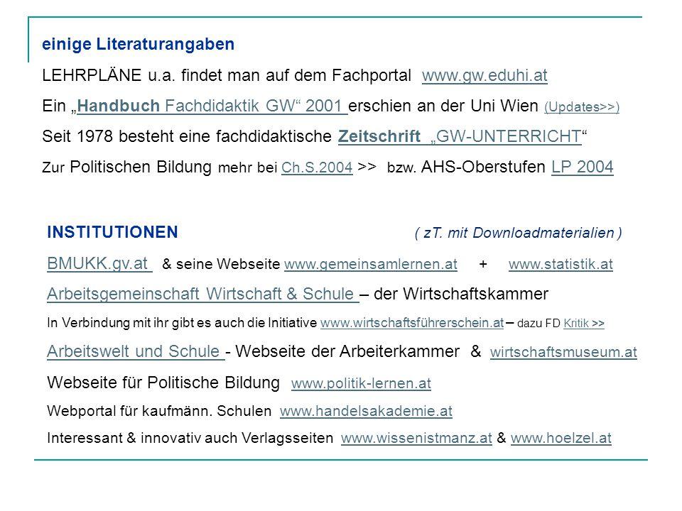 einige Literaturangaben LEHRPLÄNE u.a.