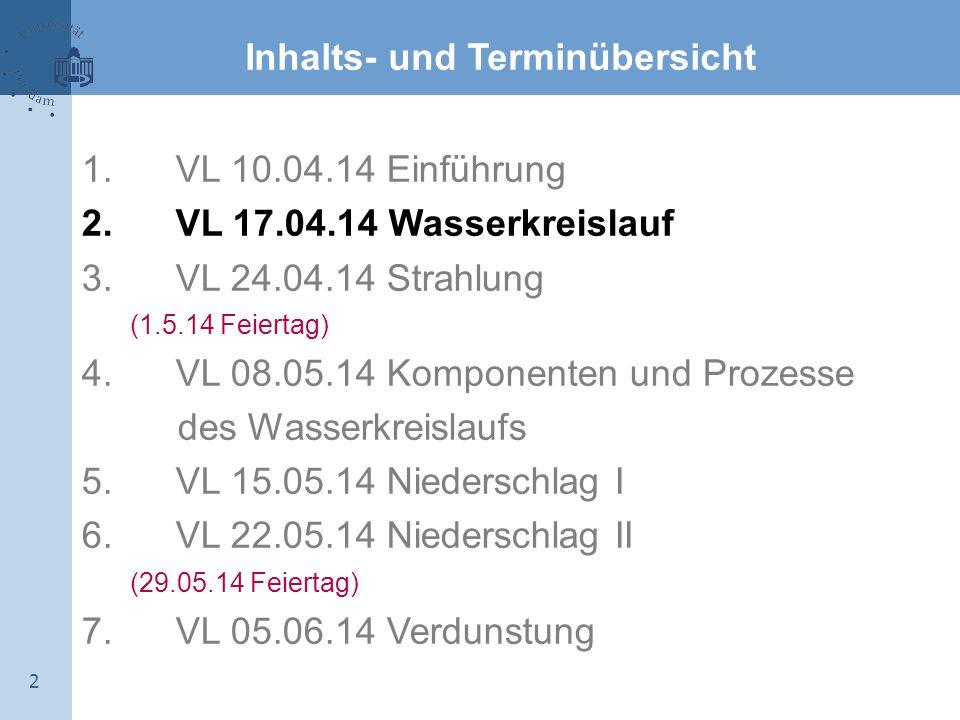 2 Inhalts- und Terminübersicht 1. VL 10.04.14 Einführung 2. VL 17.04.14 Wasserkreislauf 3. VL 24.04.14 Strahlung (1.5.14 Feiertag) 4. VL 08.05.14 Komp