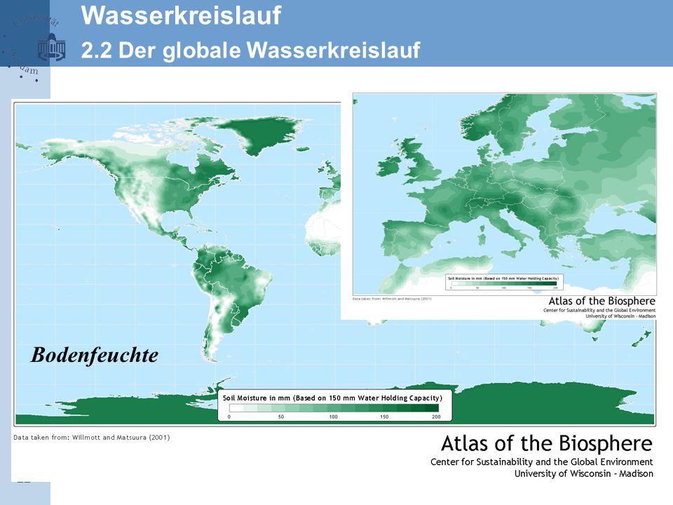 22 Wasserkreislauf 2.2 Der globale Wasserkreislauf Bodenfeuchte